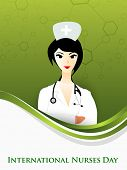 picture of florence nightingale  - International nurse day concept with illustration of a nurse on wave background - JPG