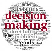 stock photo of query  - Decision making concept in tag cloud on white background - JPG
