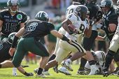 VIENNA, AUSTRIA - APRIL 29:  RB Amos Allen (#9 Panthers) runs with the ball on April 29, 2012 in Vie