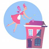 stock photo of homemaker  - Cut fairy hovering over a house - JPG
