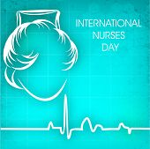 foto of florence nightingale  - International nurses day concept with illustration of a nurse on cardiogram background - JPG
