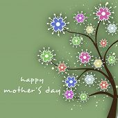 Beautiful floral decorated Happy Mothers Day background.