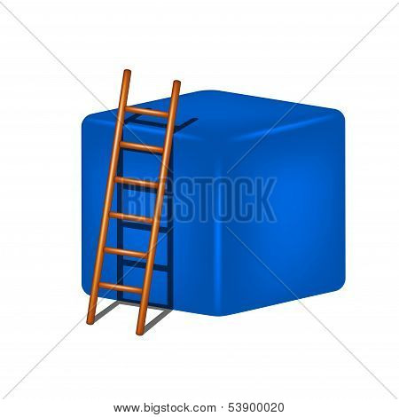 Blue cube and wooden ladder