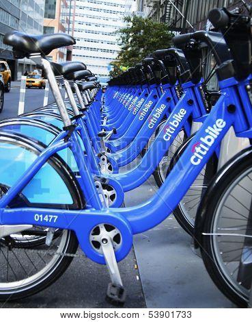 Citi bike station near World Trade Center site in Lower Manhattan