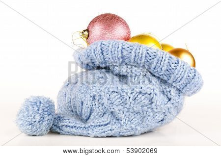 Christmas Balls In Knitted Hat