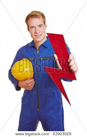 Electrician holding a red flash as symbol for energy