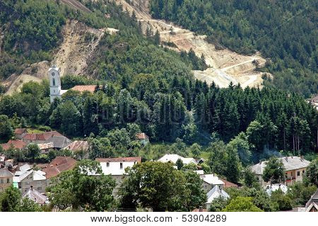 Rosia Montana village and the gold mine near the village