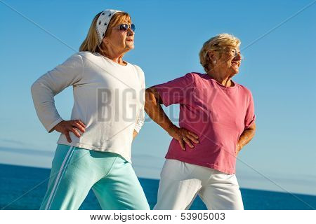 Elderly Girls Stretching Outdoors.