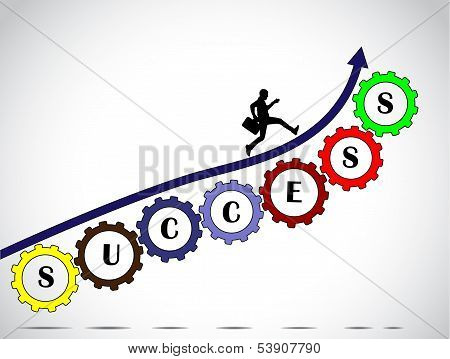 businessman success concept for achiving progress with arrow colorful gears concept design vector