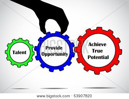 Talent Achieving True Potential with an Opportunity Concept Design Vector Illustration Art gears