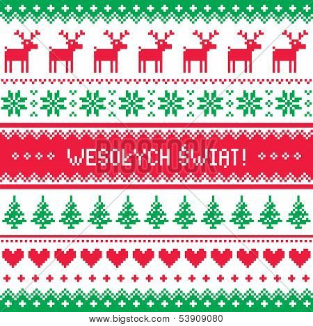 Wesolych Swiat card - scandynavian christmas pattern