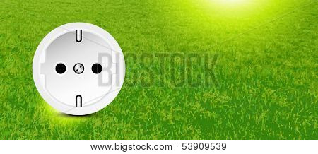 Energy conservation - socket in grass - ad banner