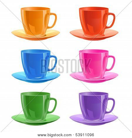 Set of cups with a saucers