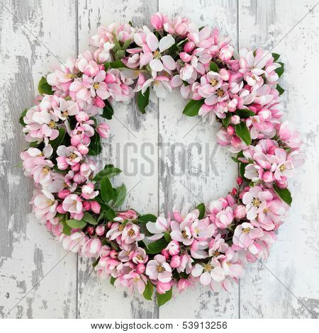 Apple flower blossom wreath over old distressed wooden background.
