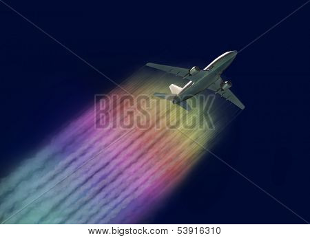 Airplane with a rainbow contrails