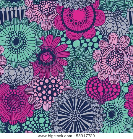 Stylish bright seamless pattern made of gorgeous flowers. Spring vector background. Seamless pattern can be used for wallpapers, pattern fills, web page backgrounds, surface textures.