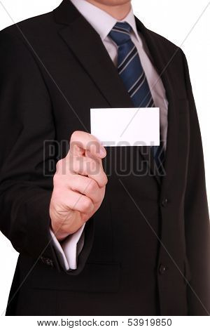 Businessman showing blank business card isolated on white background