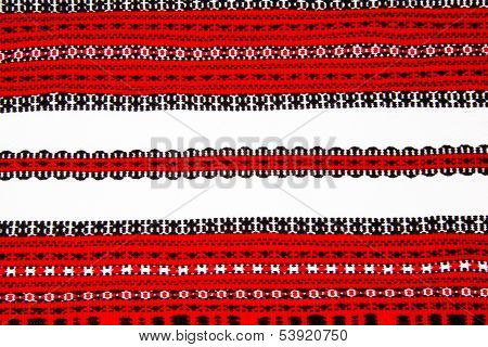 Ukrainian National Red And Black Ornament Embroidery Closeup