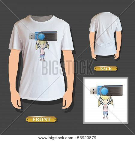 Girl Holding A Realistic Pendrive Printed On T-shirt. Vector Design.