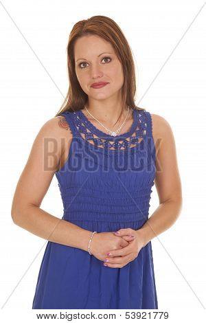 Woman Blue Dress Hands Clasp