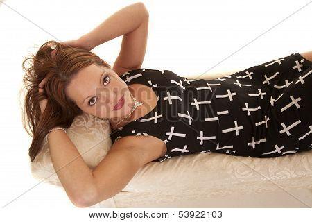 Woman Dress Crosses Lay Look Up