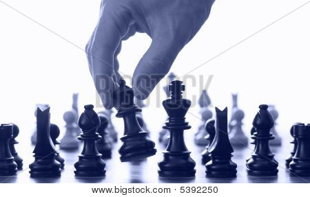 Chess Board And Hand