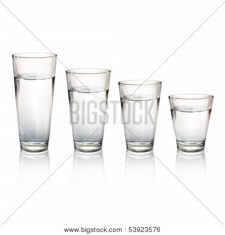 Set Of Realistic Water Glasses With Different Sizes. Vector Design