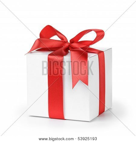 Paper Gift Box Wrapped With Ribbon