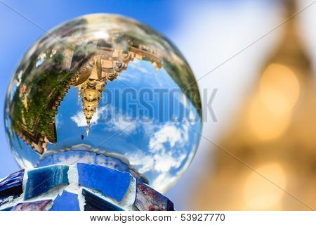 Gold Temple Reflecting In Crystal Ball