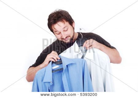 Happy Man With Two Fasioned Shirts