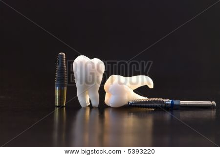 Human Teeth , Dental Implant And Drill