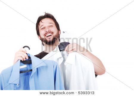 Widely Smiled Man With Blue And White Shirts