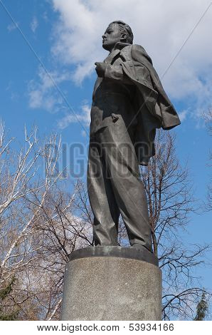 Statue Of Young Lenin In Front Of The Kazan State University. Kazan. Russia