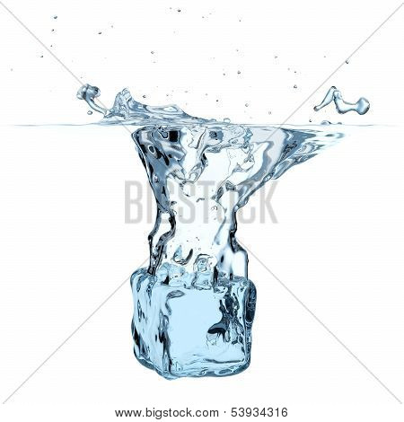 Blue Ice Cube Dropped To Water