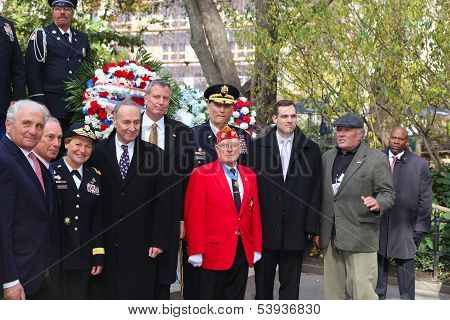 Medal of Honor recipient Herschel Williams (red jacket)