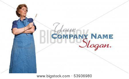 Mature woman with an apron and a wooden spoon