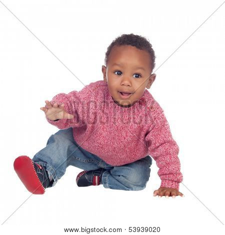 Beautiful African American baby crawling isolated on a white background