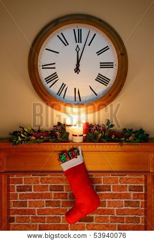 It's just past midnight on Christmas Eve / Day and Santa has been, gifts are in the stocking hanging over the fireplace, as candles burn on the mantlepiece surrounded by a holly and ivy garland.