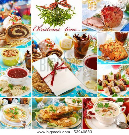 Collage With Traditional Polish Dishes For Christmas
