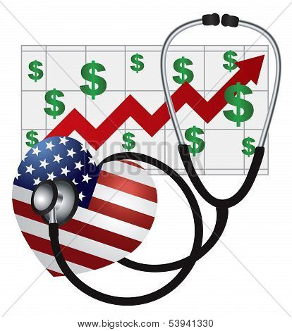 Stethoscope Heart With Us Flag And Chart