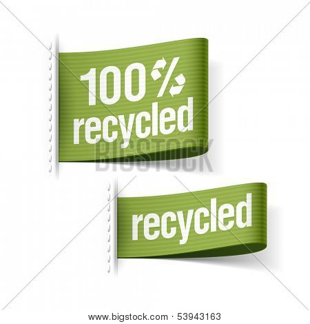 100% recycled product labels. Vector.