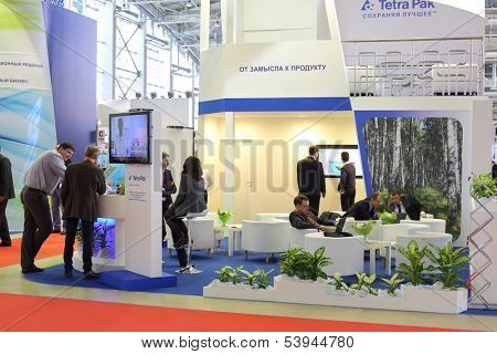 MOSCOW - MAR 12: Showcase with packing at the 12th International Exhibition Dairy and Meat Industry on March 12, 2013 in Moscow, Russia.