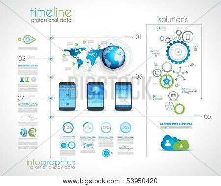 Timeline design with infographics desing elements