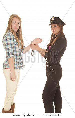 Woman Cop Handcuff Woman Looking