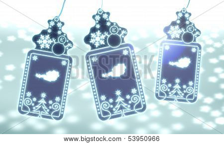 Three Christmas Labels With Austria Sticker