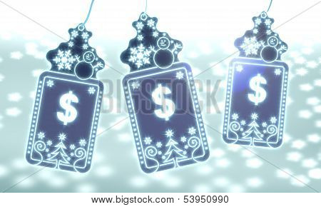 Three Christmas Labels With Dollar Sign