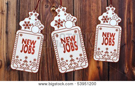 Three Christmas Cards With New Jobs Sign