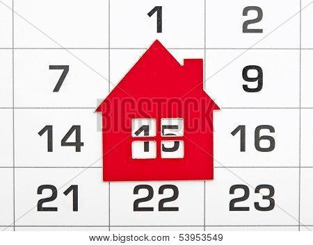 shape red house on a calendar background