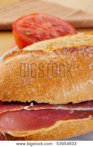 closeup of a spanish bocadillo de jamon serrano, a serrano ham sandwich