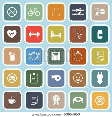 Wellness Flat Icons On Blue Background